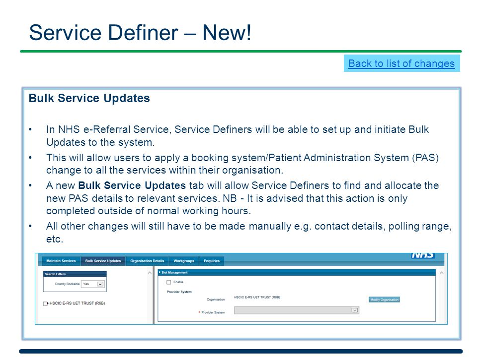 Service Definer – New! Bulk Service Updates Back to list of changes