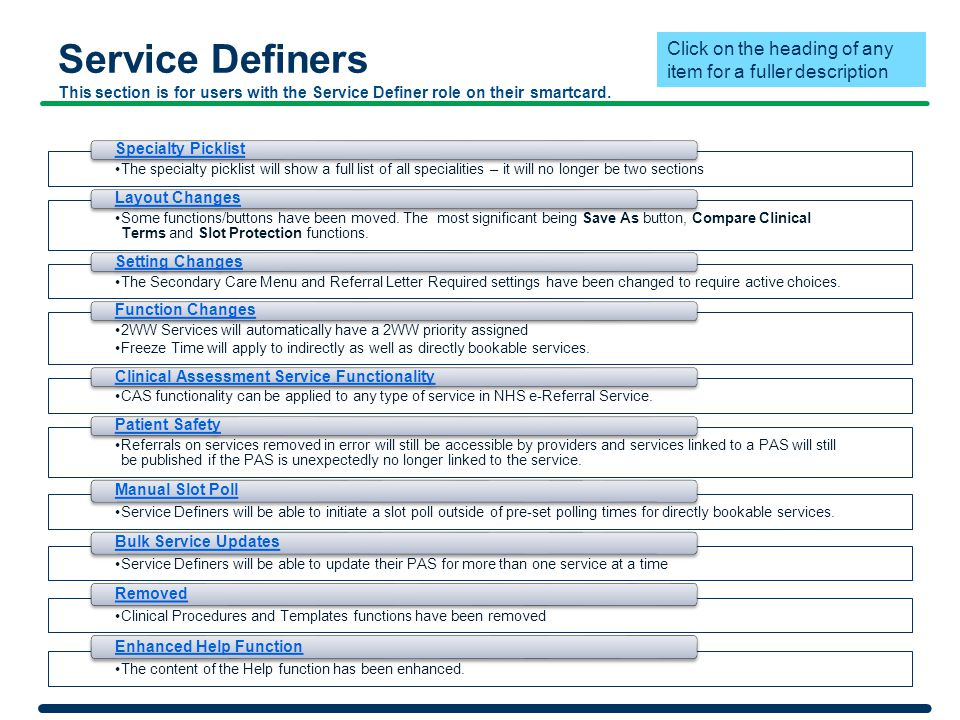 Service Definers This section is for users with the Service Definer role on their smartcard.