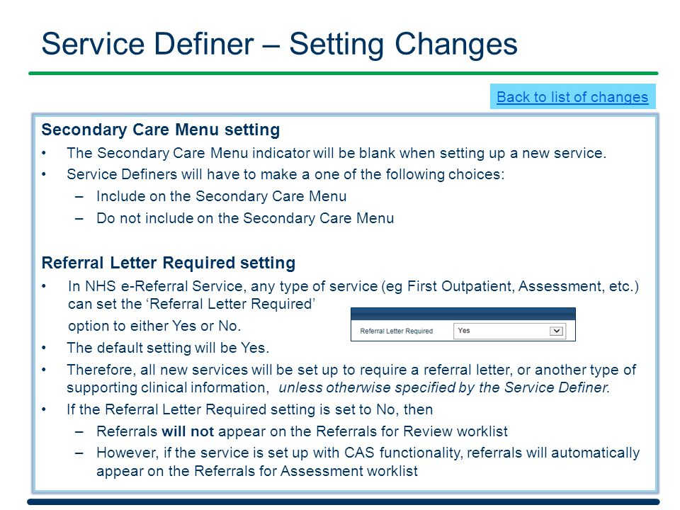 Service Definer – Setting Changes
