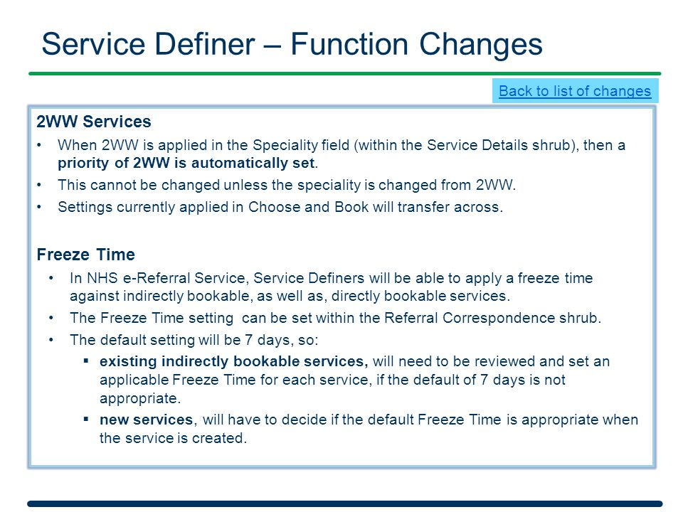 Service Definer – Function Changes