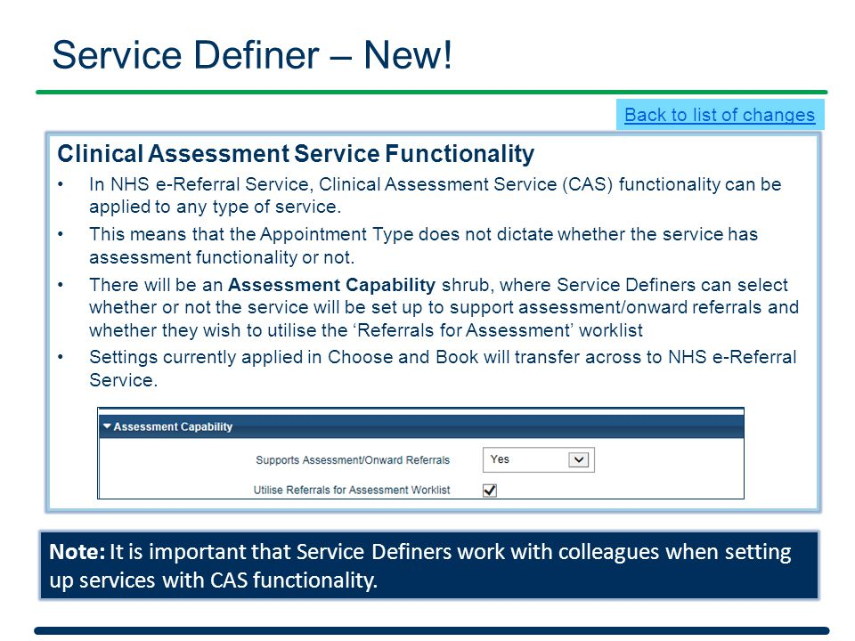 Service Definer – New! Clinical Assessment Service Functionality