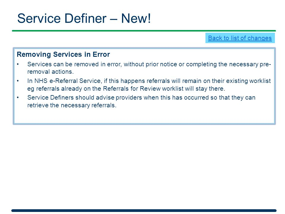 Service Definer – New! Removing Services in Error