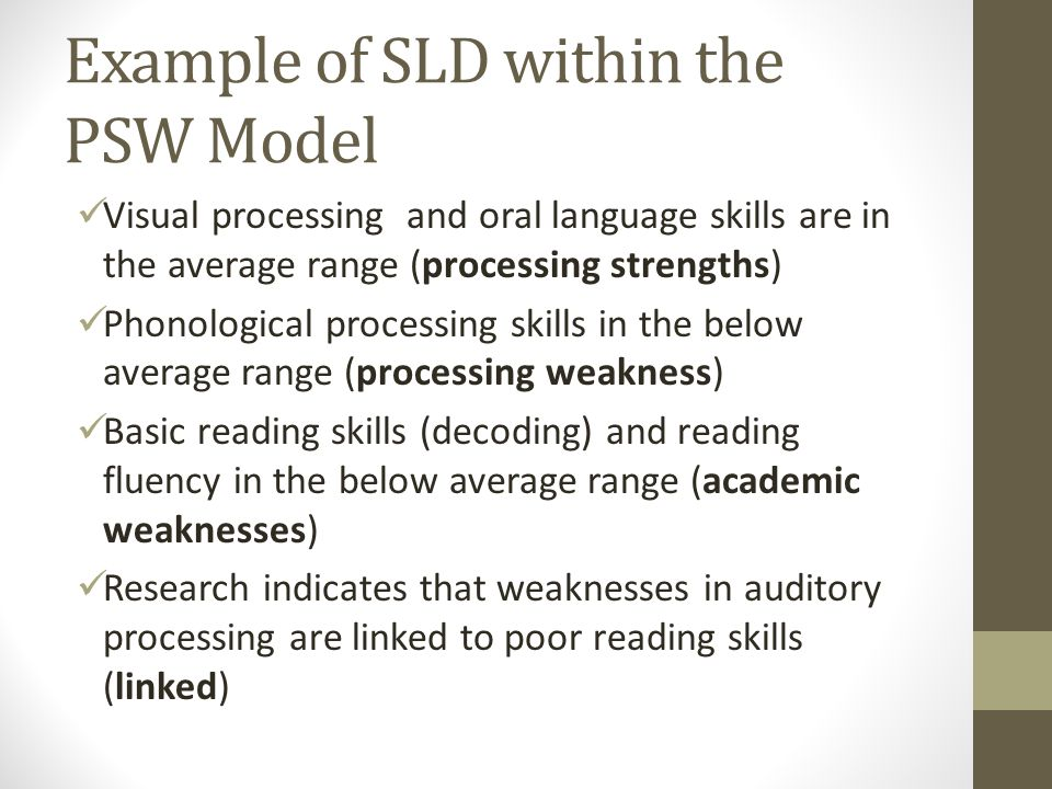 Example of SLD within the PSW Model