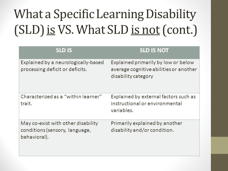 What a Specific Learning Disability (SLD) is VS. What SLD is not (cont