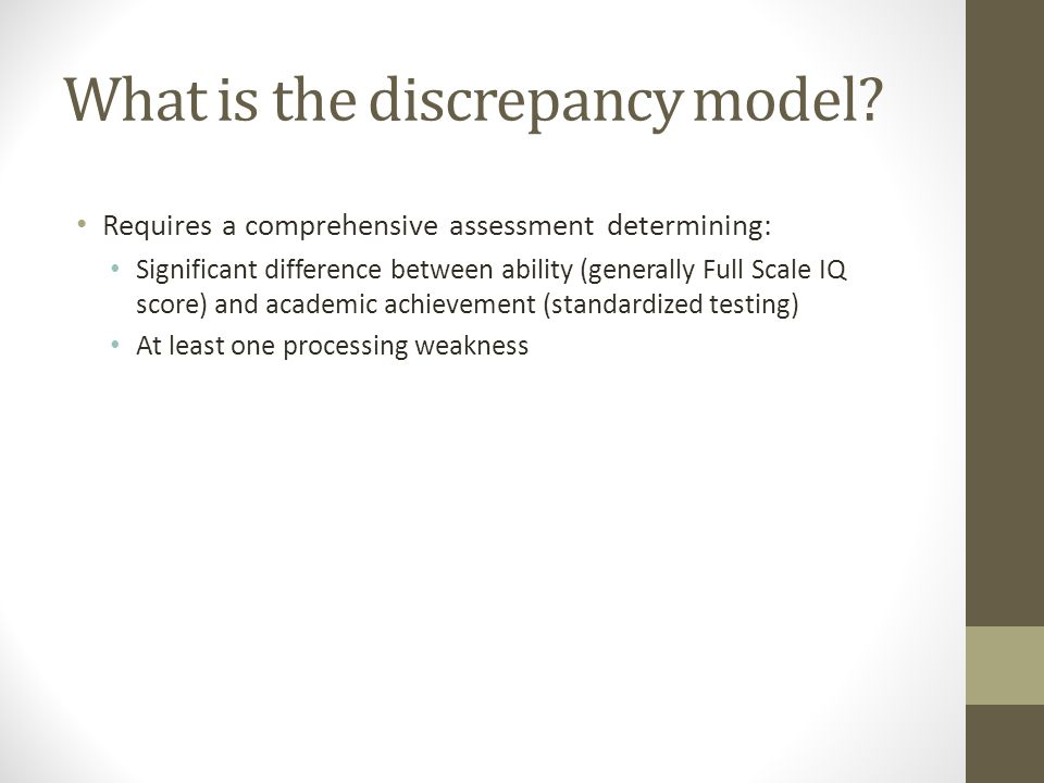 What is the discrepancy model