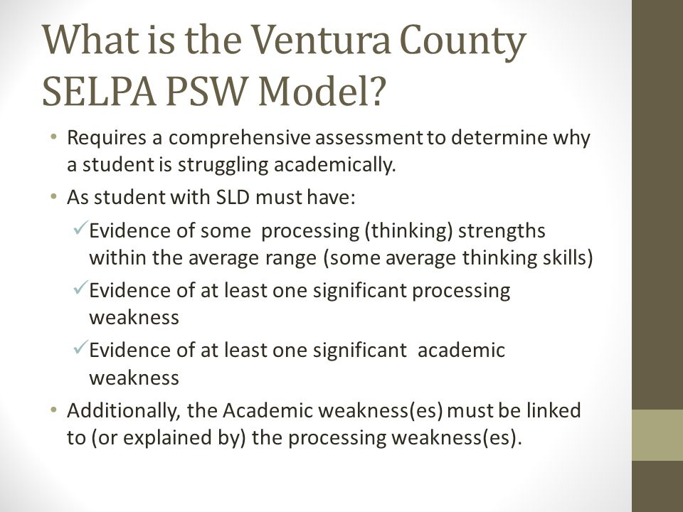 What is the Ventura County SELPA PSW Model
