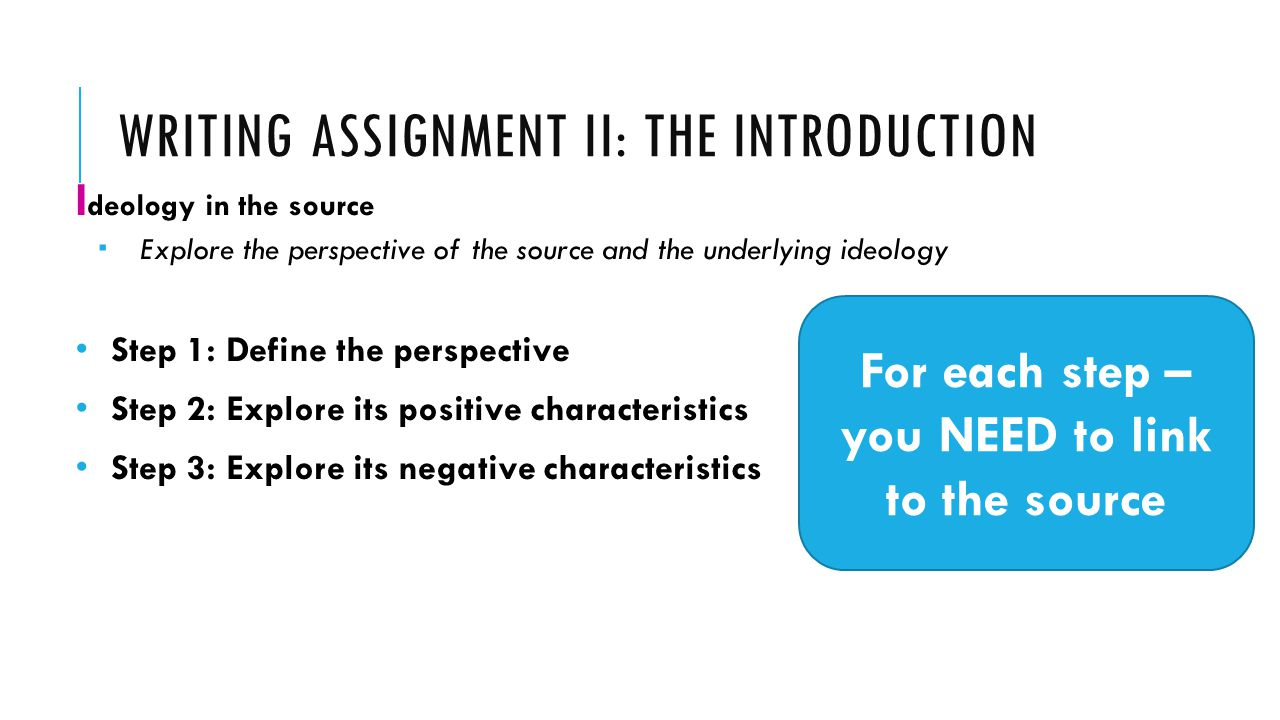 intro assignment Essay introductions write an introduction that interests the reader and effectively outlines your arguments every essay or assignment you write must begin with an introduction.