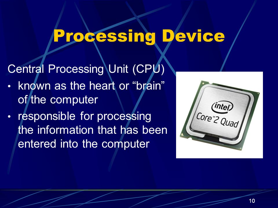 Processing Device Central Processing Unit (CPU)