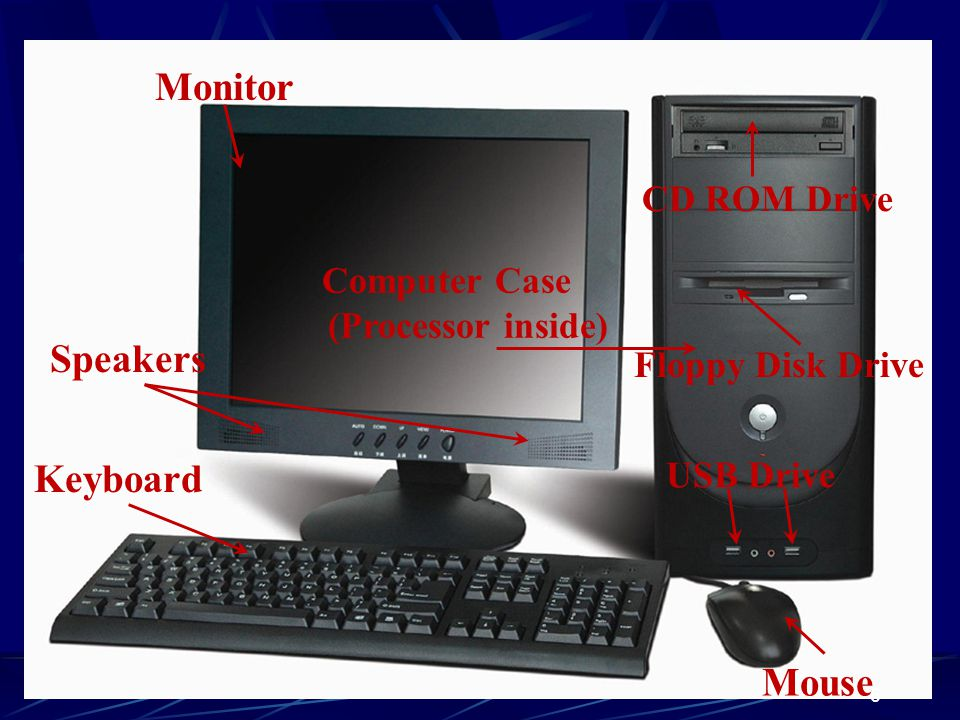 Monitor Speakers Keyboard Mouse CD ROM Drive Computer Case