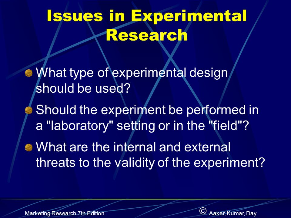 Issues in Experimental Research