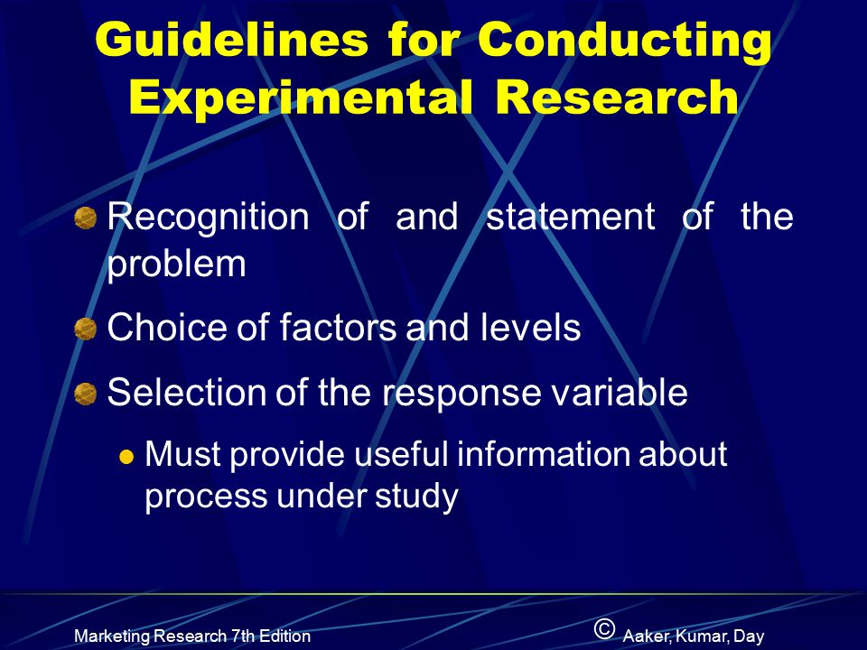 Guidelines for Conducting Experimental Research