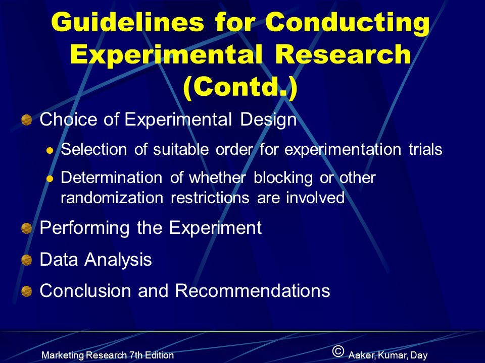 Guidelines for Conducting Experimental Research (Contd.)
