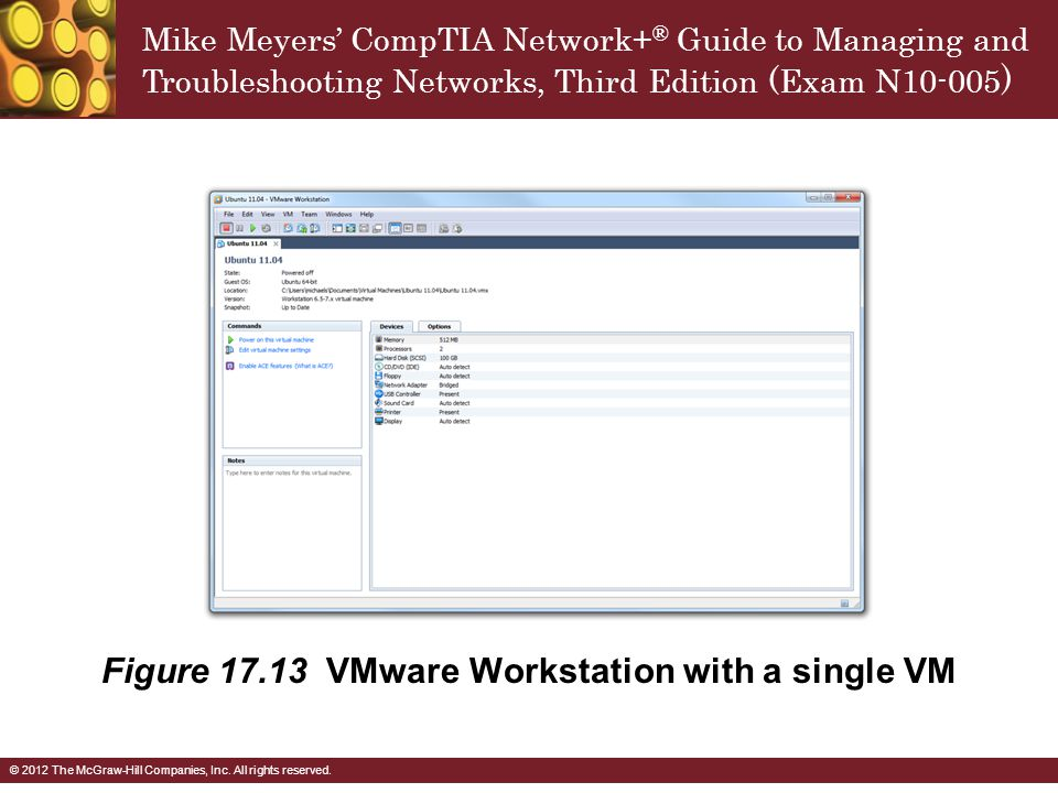 Figure VMware Workstation with a single VM