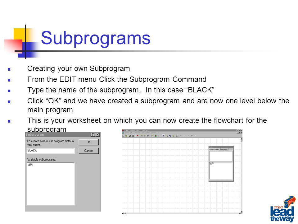 how to create a subprogram in c++