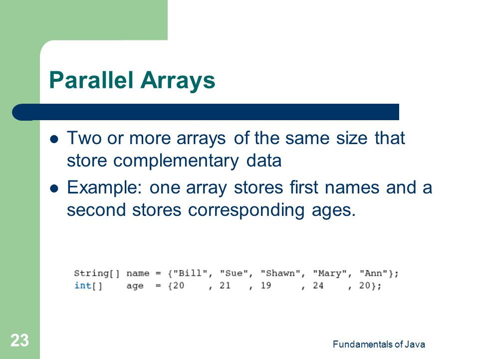 how to create parallel arrays in java