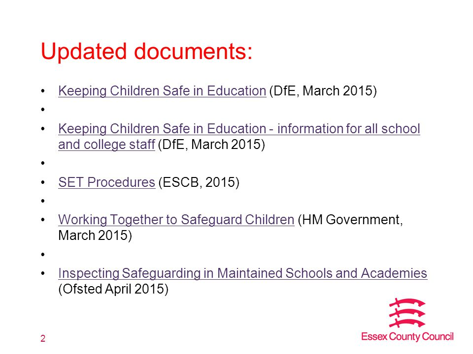 Updated documents: Keeping Children Safe in Education (DfE, March 2015)