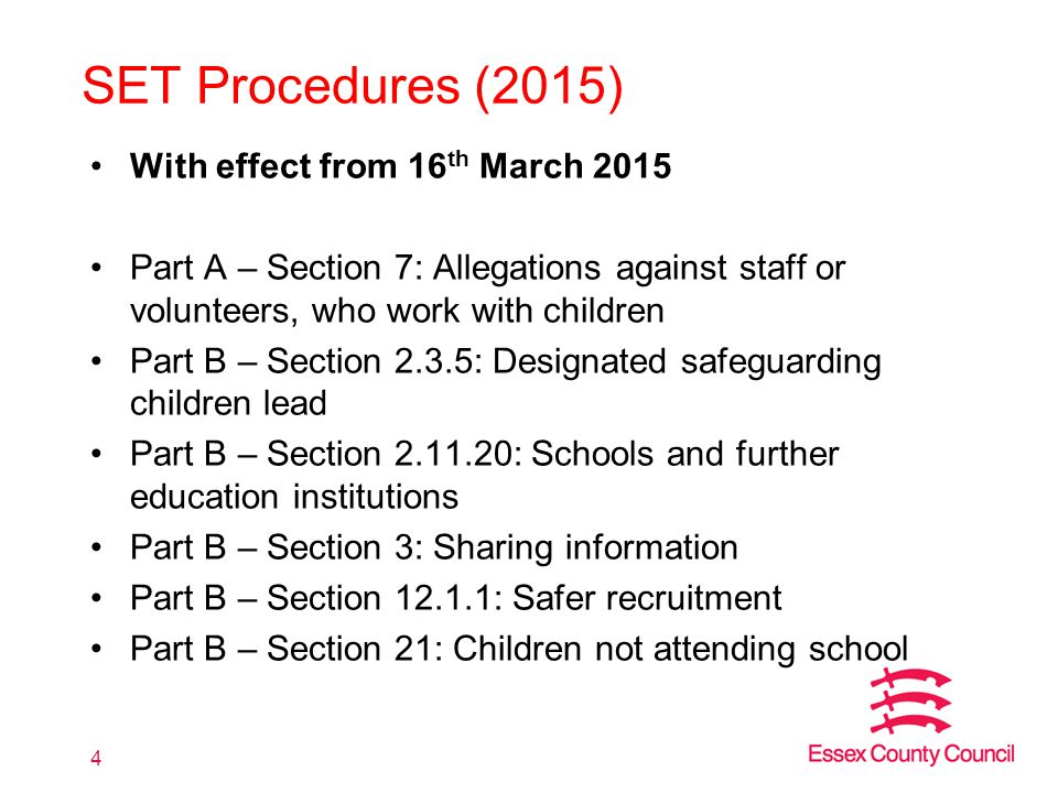 SET Procedures (2015) With effect from 16th March 2015