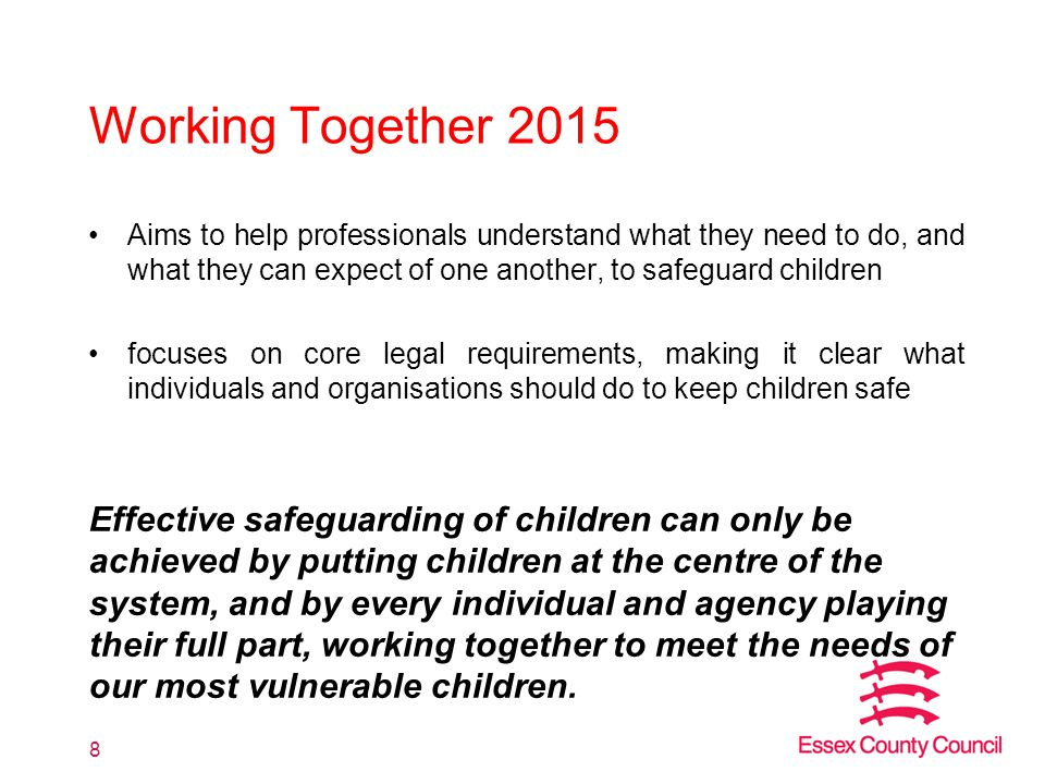 Working Together 2015 Aims to help professionals understand what they need to do, and what they can expect of one another, to safeguard children.