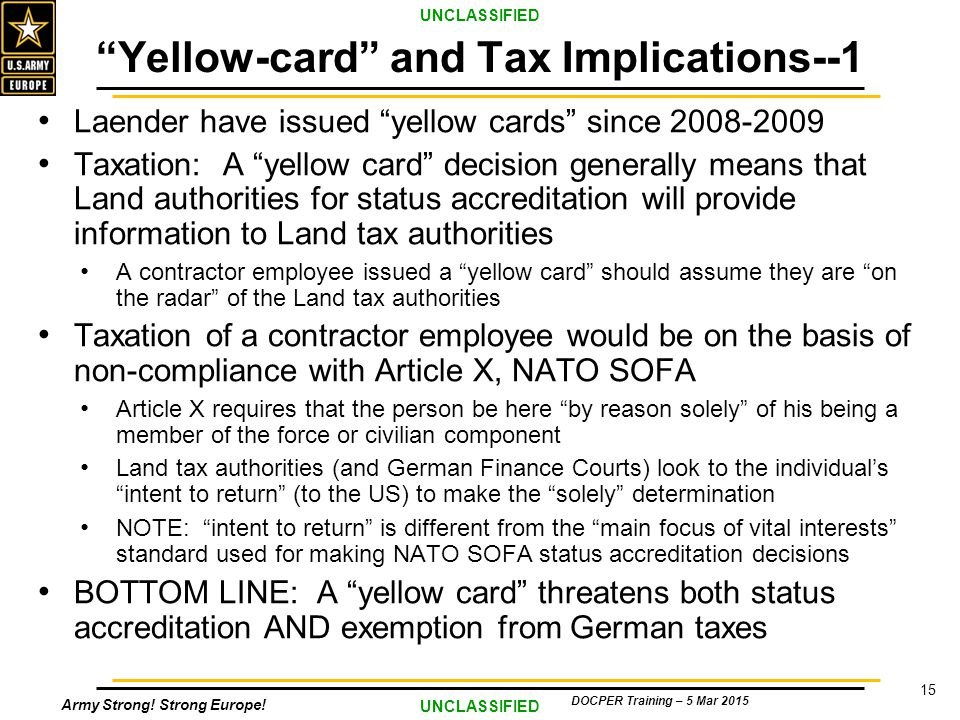 Welcome 2015 COR Training SA Overview Germany ppt  : Yellow cardandTaxImplications 1 from slideplayer.com size 960 x 720 jpeg 157kB