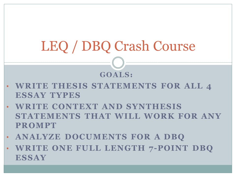 write thesis statement dbq The thesis statement of an ap history essay is the most critical element of the essay it will be establishing the basis of the entire paper, and if done properly will outline a comprehensive well-thought out essay.