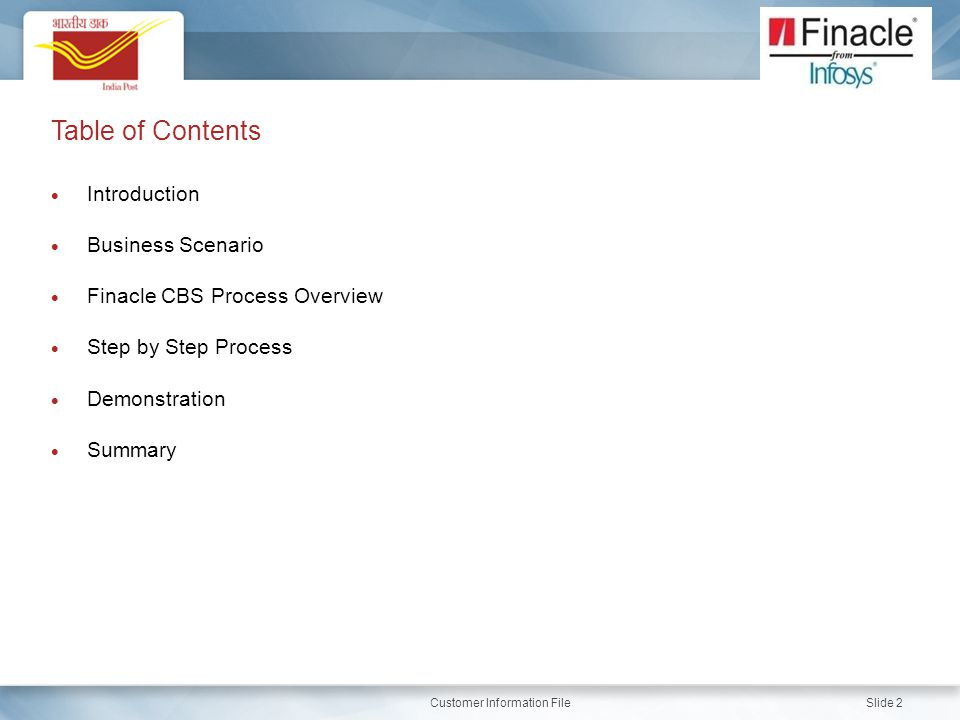 Introduction Business Scenario. Finacle CBS Process Overview. Step by Step Process. Demonstration.