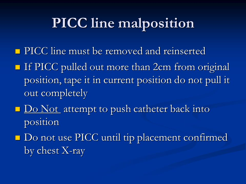 the importance of picc tip placement Nates chest radiographs to verify picc tip location in many patients 9 however,  picc use continues to carry important risks, most notably infection and.
