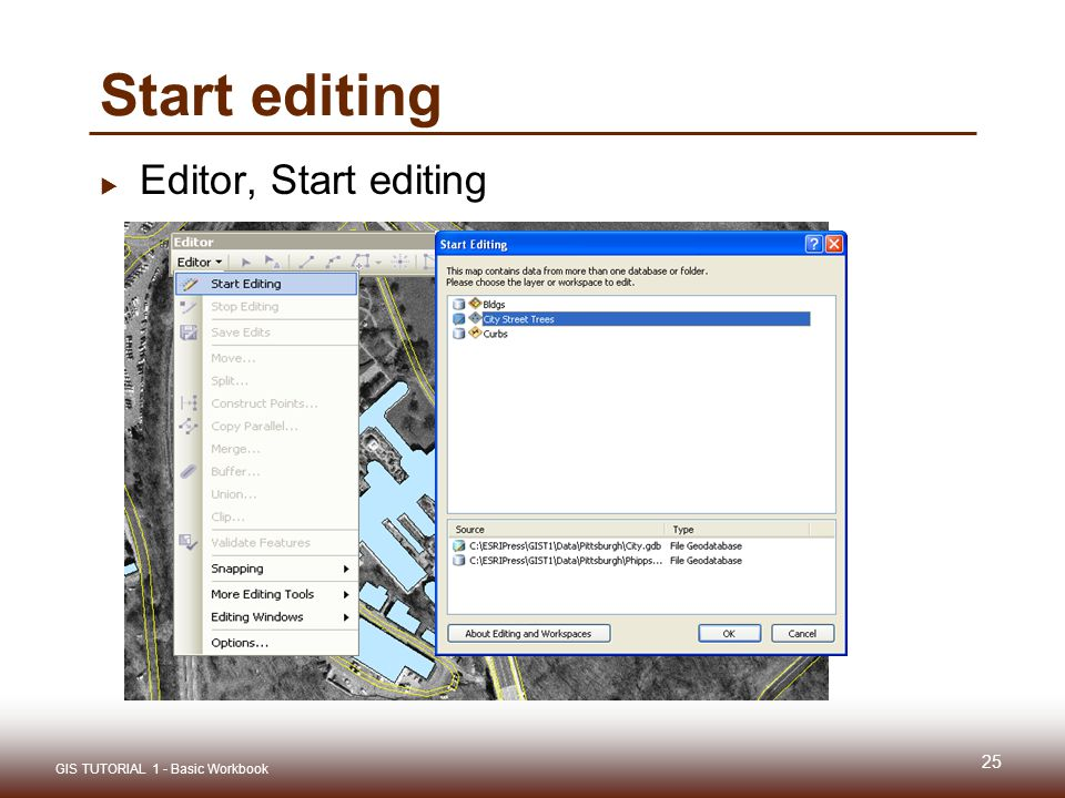 Gis tutorial 1 lecture 6 digitizing ppt download 25 start editing editor start editing gis tutorial 1 basic workbook sciox Gallery
