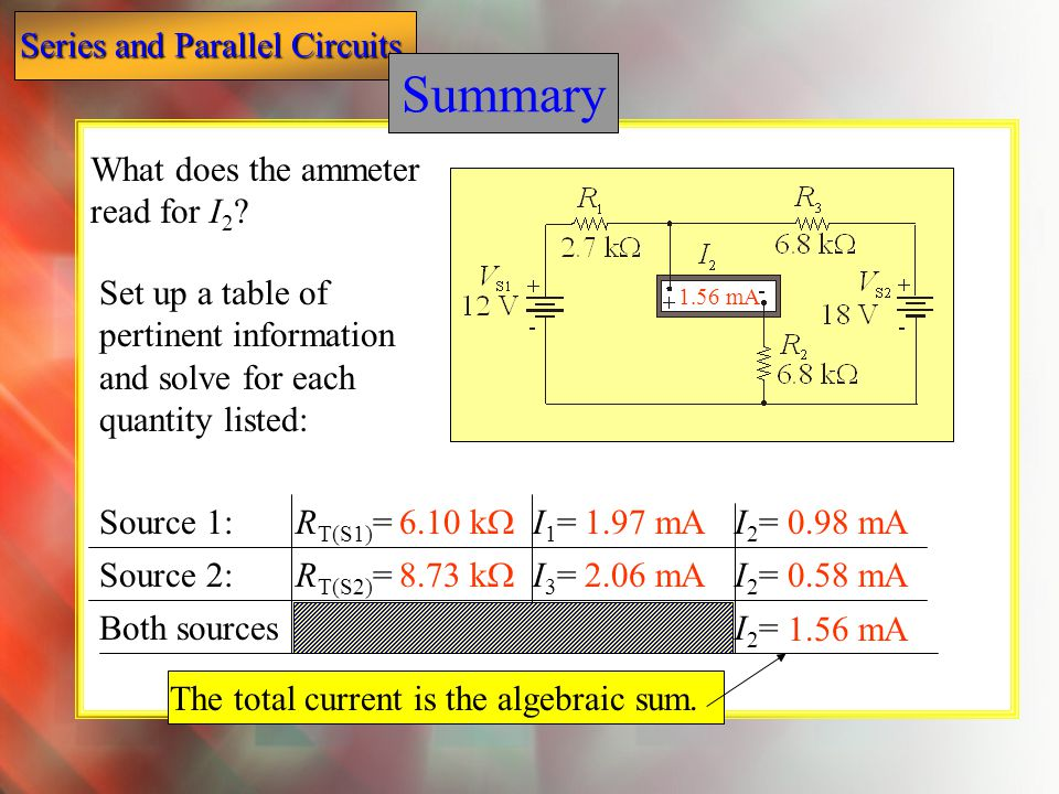 Summary Summary What does the ammeter read for I2