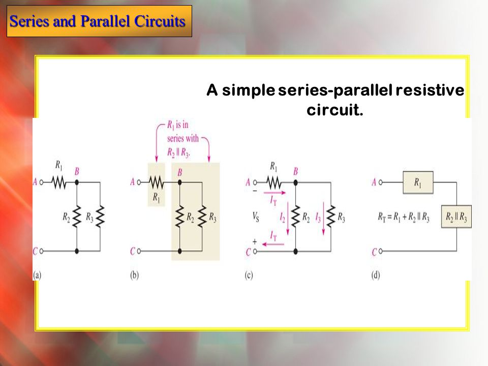 A simple series-parallel resistive circuit.