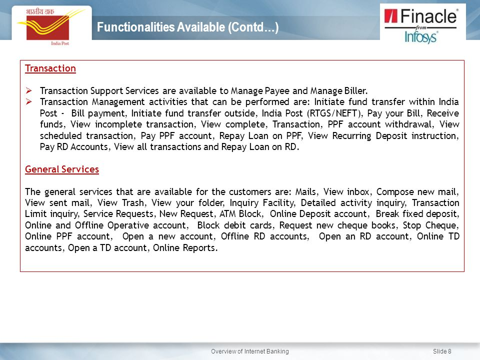 Functionalities Available (Contd…)
