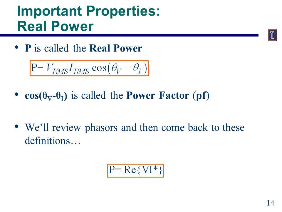 Review of Phasors Phasors are used in electrical engineering (power systems) to represent sinusoids of the same frequency.