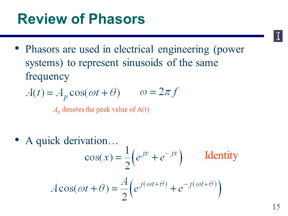 Review of Phasors Use Euler's Identity Identity