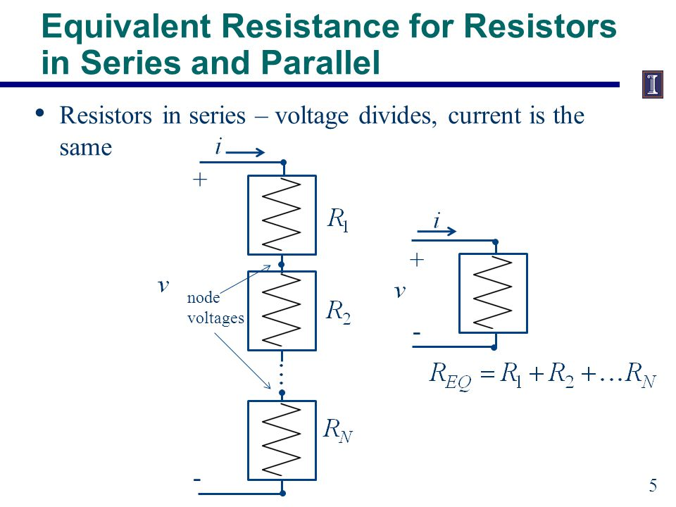 Equivalent Resistance for Resistors in Series and Parallel