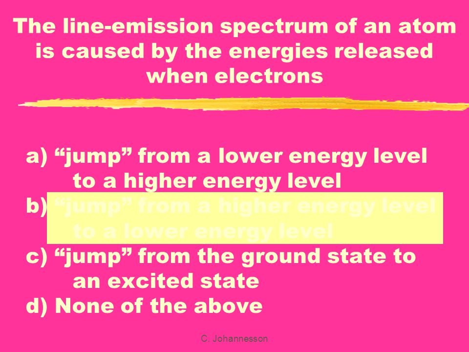 The line-emission spectrum of an atom is caused by the energies released when electrons
