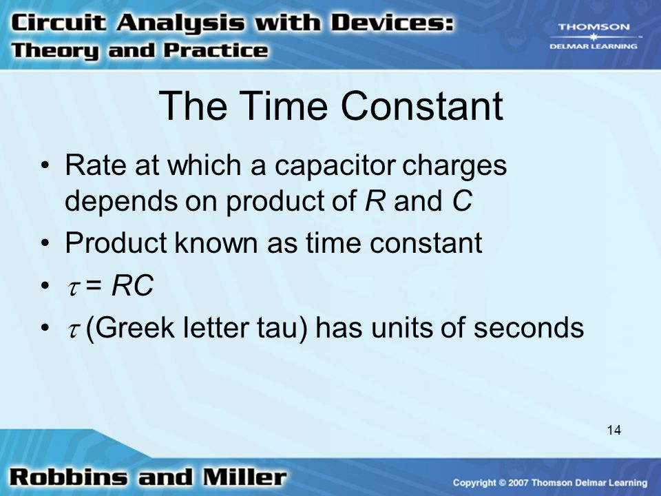 The Time Constant Rate at which a capacitor charges depends on product of R and C. Product known as time constant.
