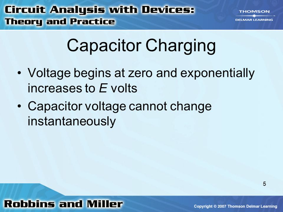 Capacitor Charging Voltage begins at zero and exponentially increases to E volts.