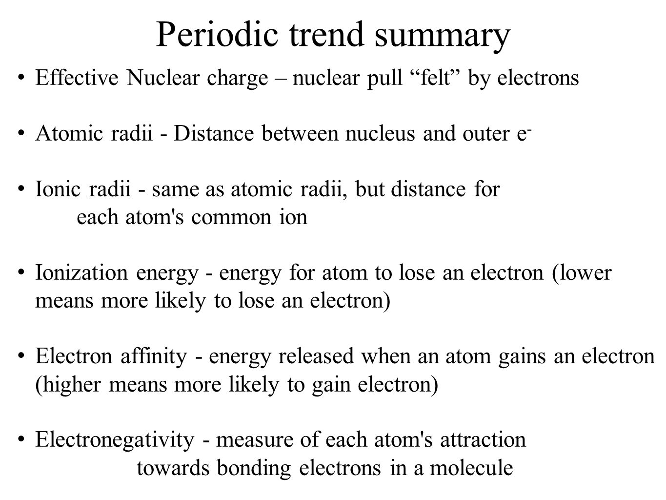 History and trends of the periodic table ppt video online download 16 periodic trend summary gamestrikefo Choice Image
