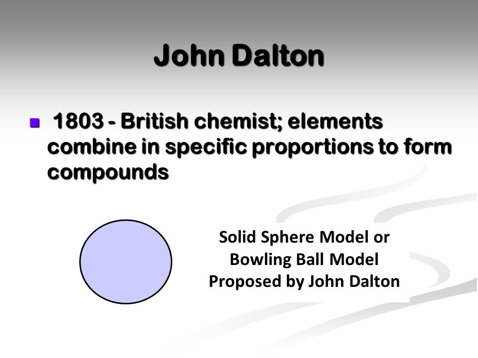 Solid Sphere Model or Bowling Ball Model Proposed by John Dalton