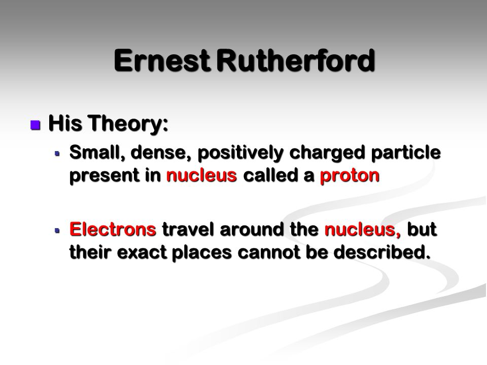 Ernest Rutherford His Theory: