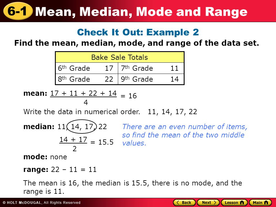 Learn to find the mean median mode and range of a data set check it out example 2 find the mean median mode and range ccuart Gallery