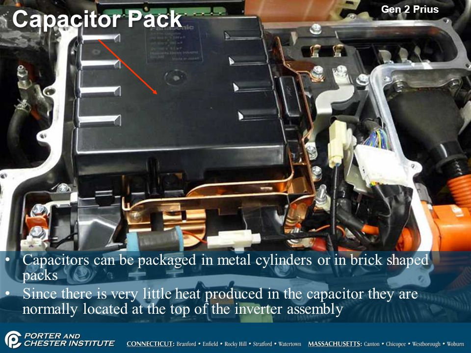 Gen 2 Prius Capacitor Pack. Capacitors can be packaged in metal cylinders or in brick shaped packs.