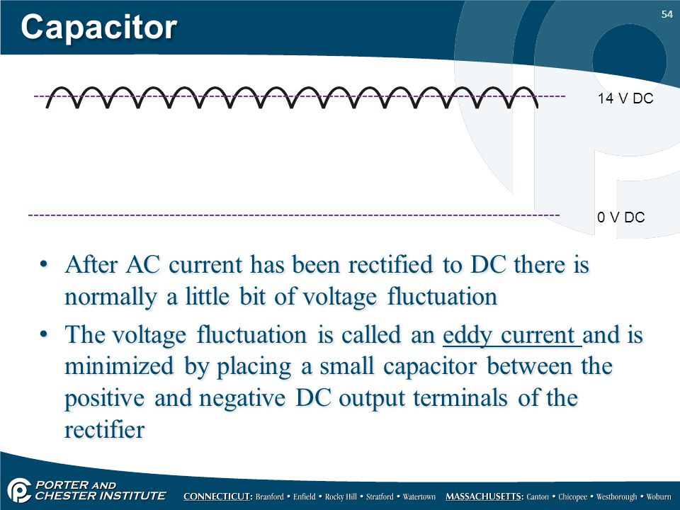 Capacitor 14 V DC. 0 V DC. After AC current has been rectified to DC there is normally a little bit of voltage fluctuation.
