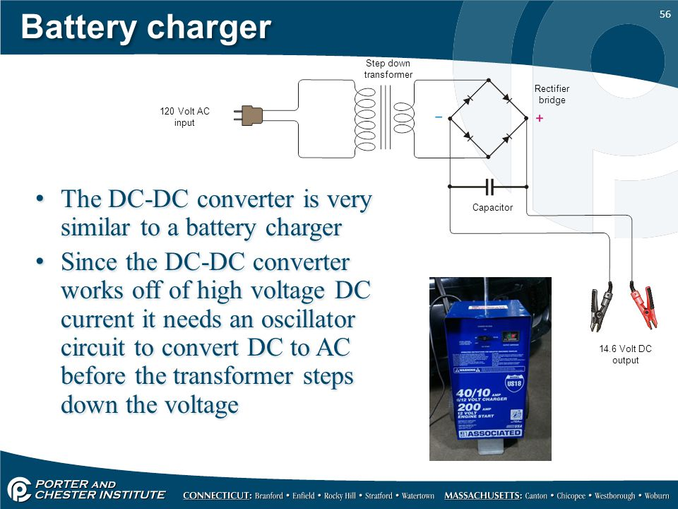 Battery charger Step down transformer. Rectifier bridge. 120 Volt AC input. The DC-DC converter is very similar to a battery charger.