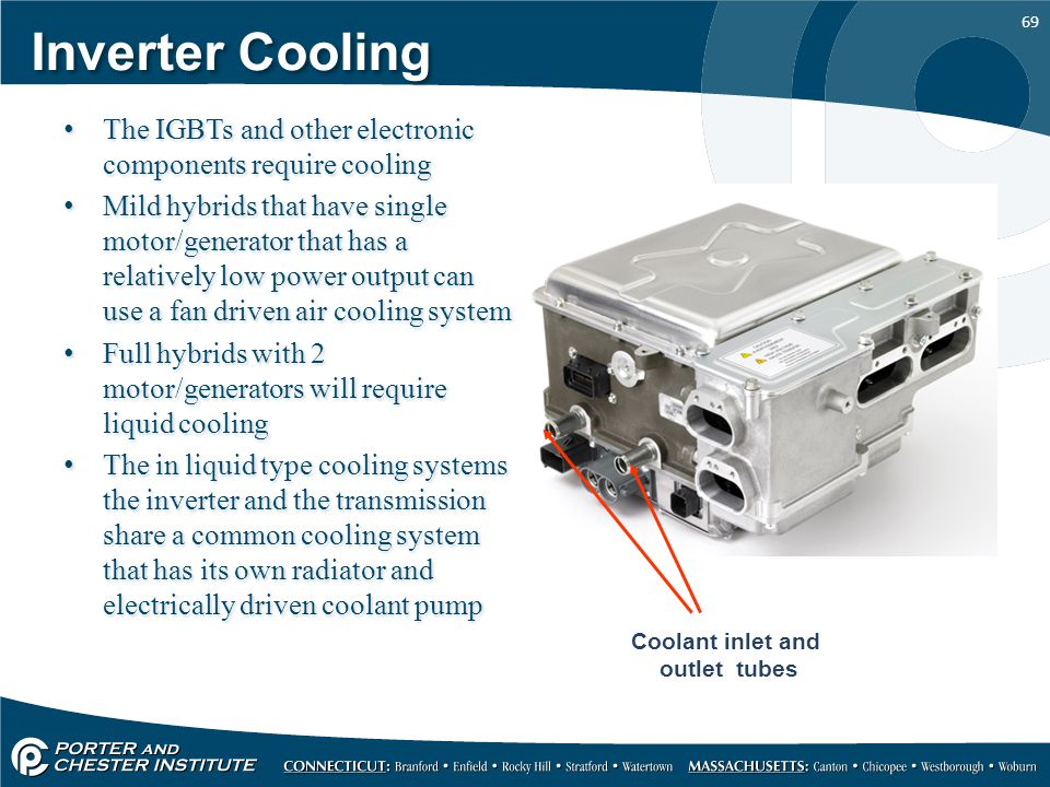 Inverter Cooling The IGBTs and other electronic components require cooling.