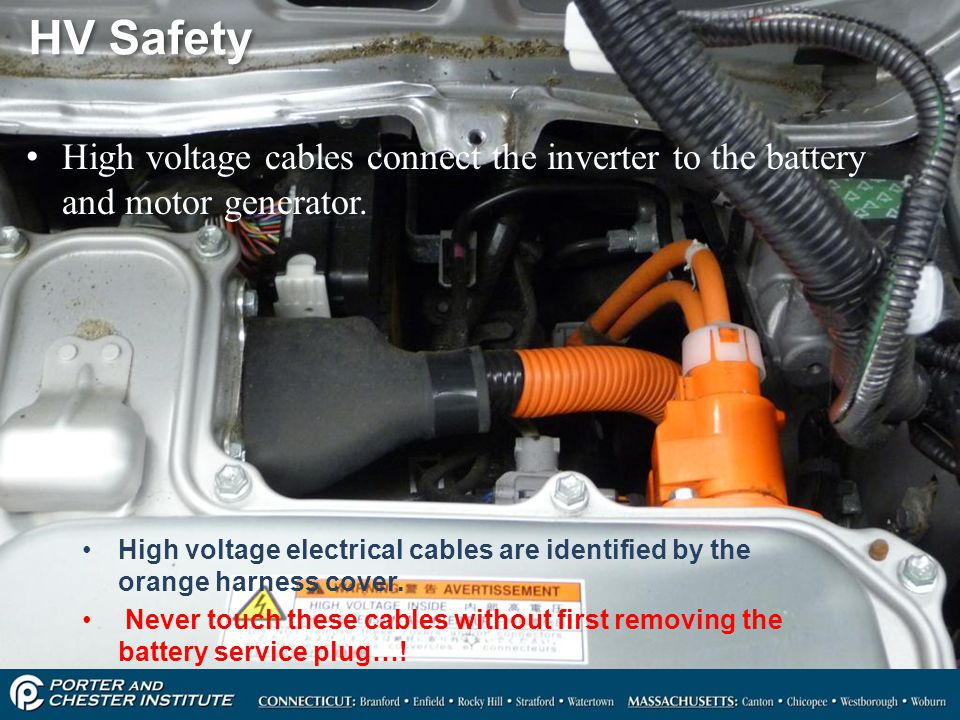 HV Safety High voltage cables connect the inverter to the battery and motor generator.