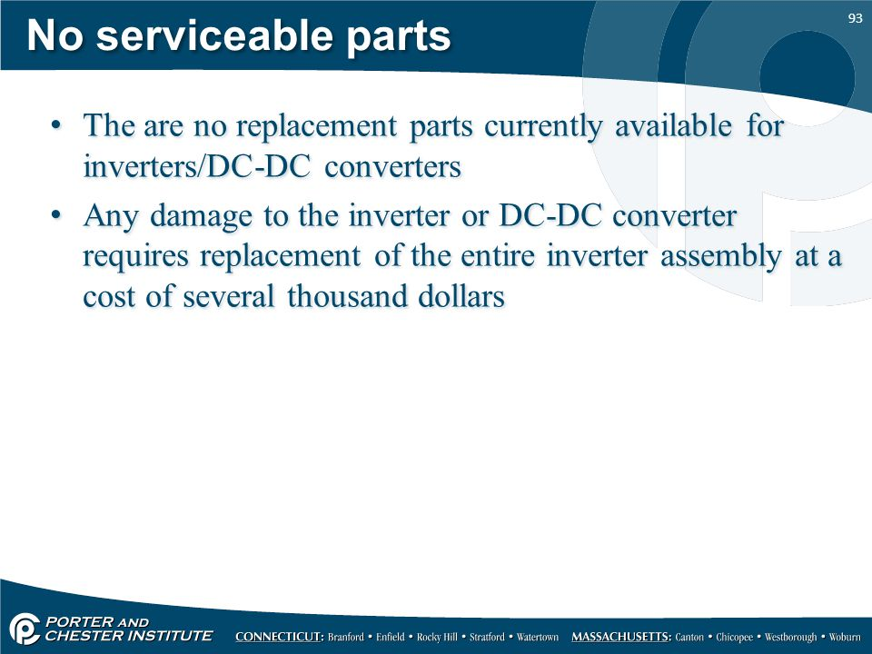 No serviceable parts The are no replacement parts currently available for inverters/DC-DC converters.