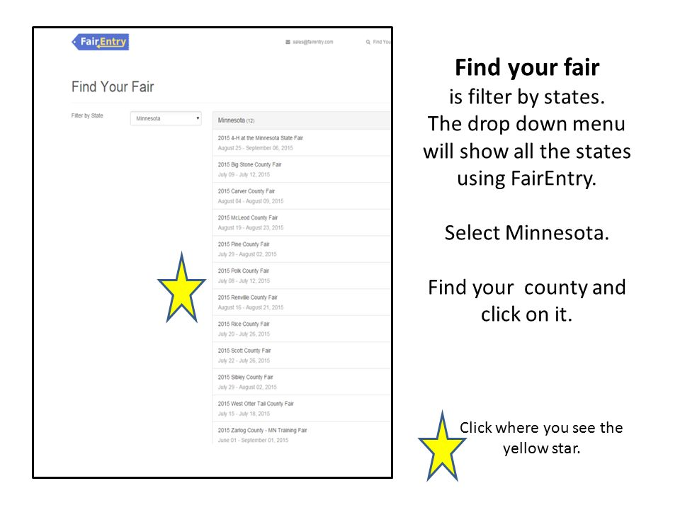Find your fair is filter by states