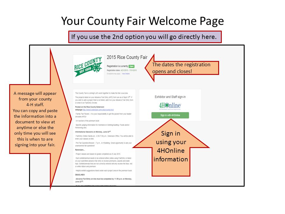 Your County Fair Welcome Page