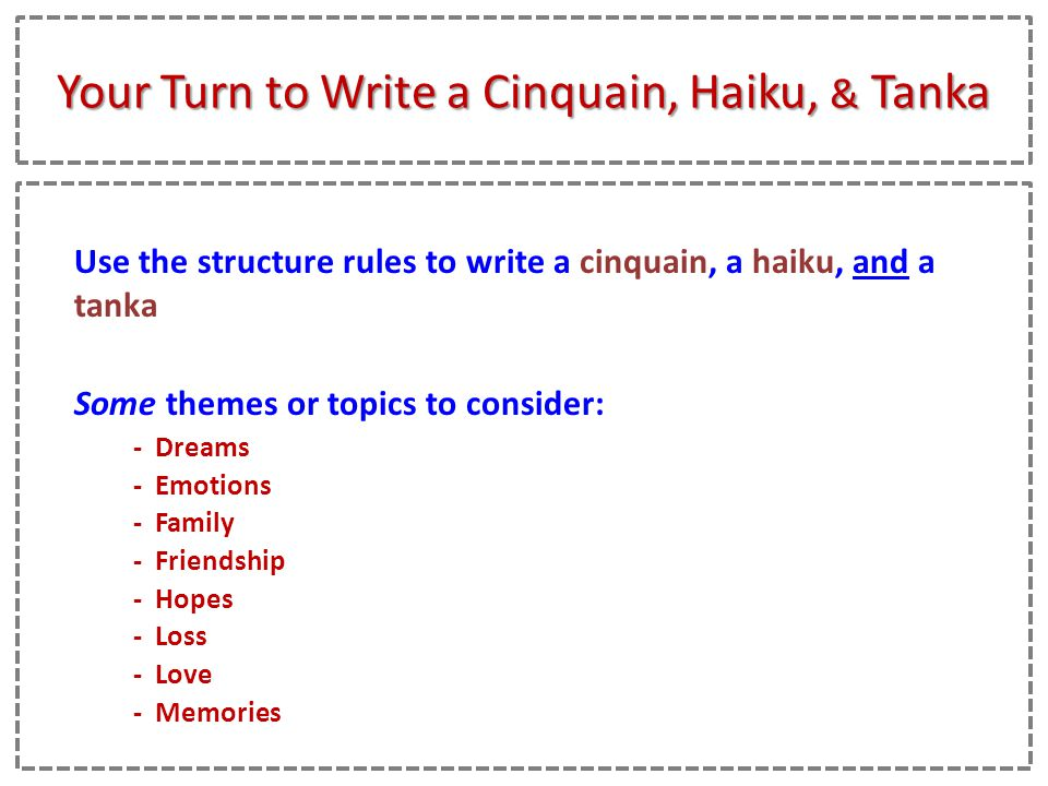 how to write a haiku How to write haiku poetry the haiku is a japanese verse in three lines line one has 5 syllables, line 2 has 7 syllables and line three has 5 syllables.
