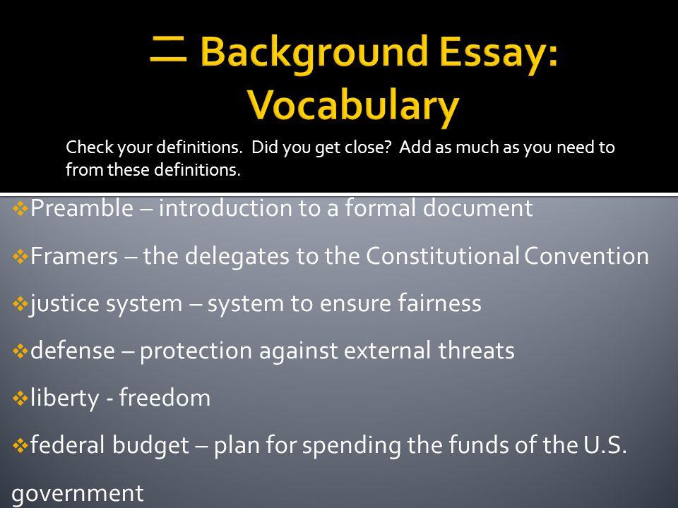 dbq essay for preambles
